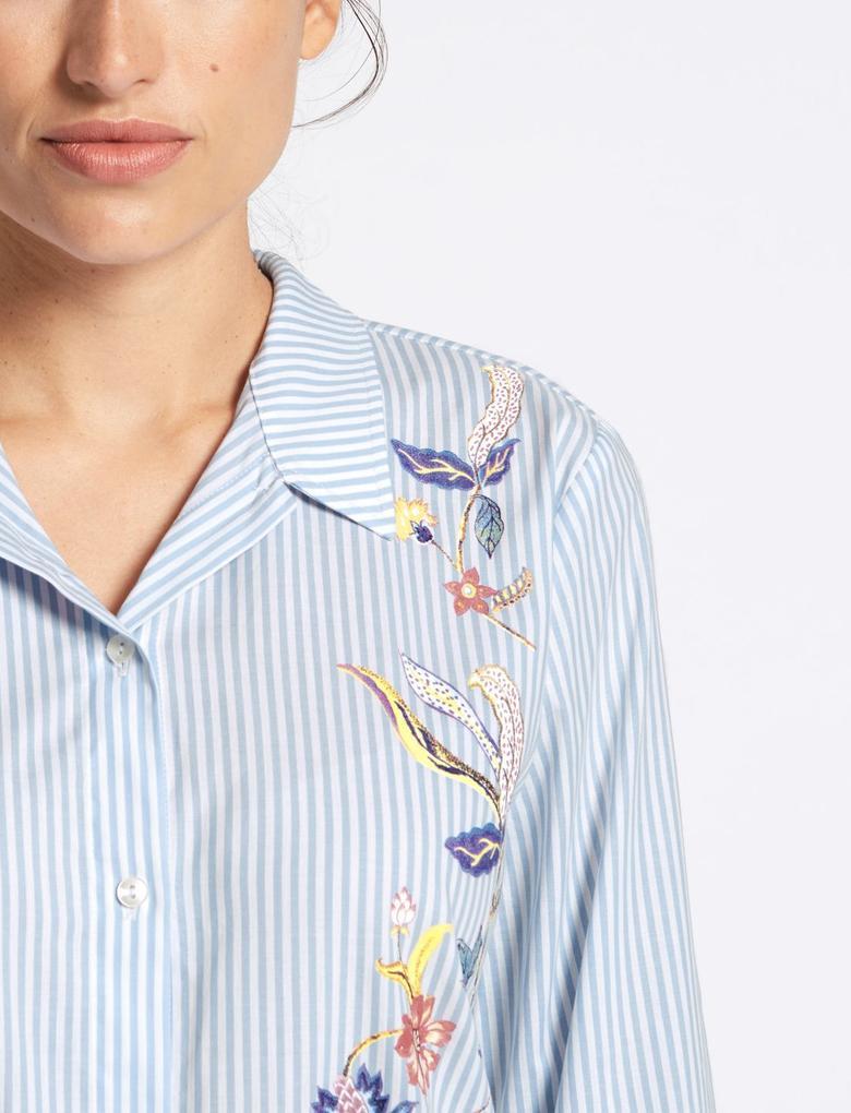 Pamuklu Çizgili Desenli Gömlek