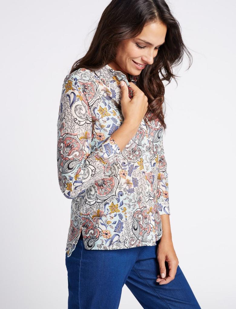 Pamuk ve İpek Karışımlı Desenli Gömlek