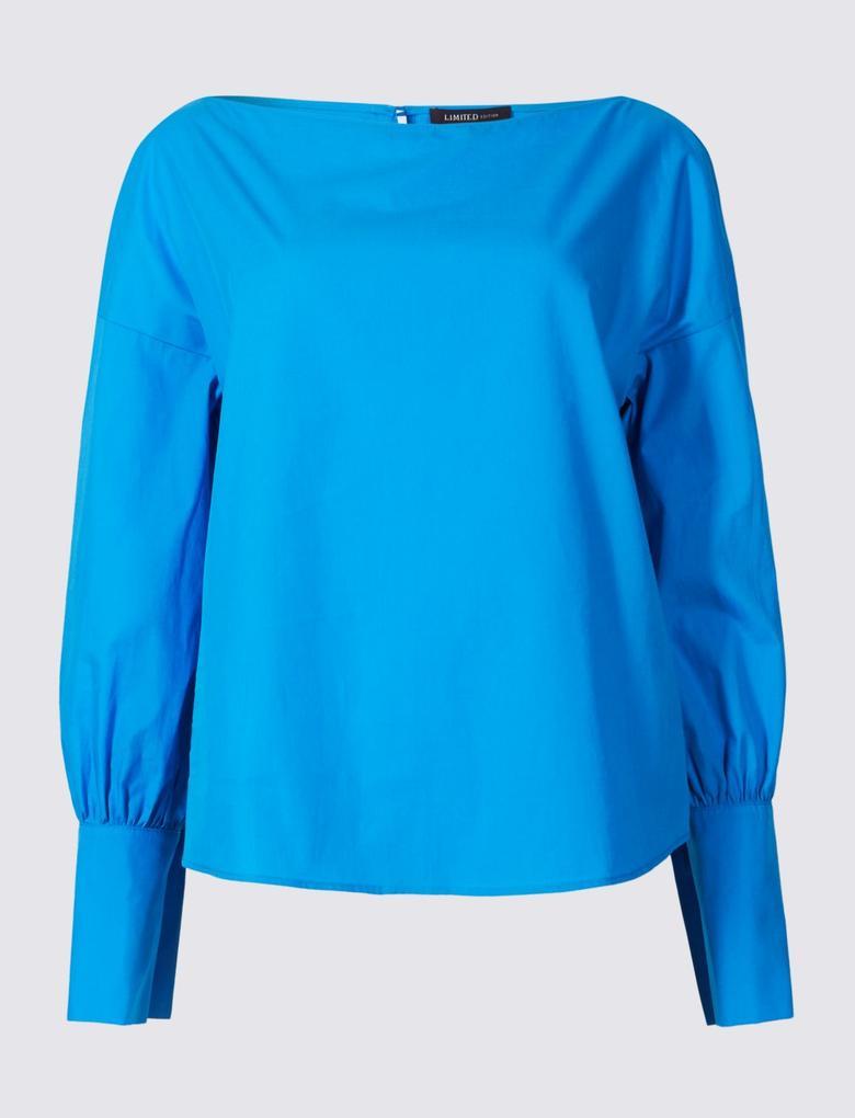 Mavi Pamuklu Slim Manşetli Bluz