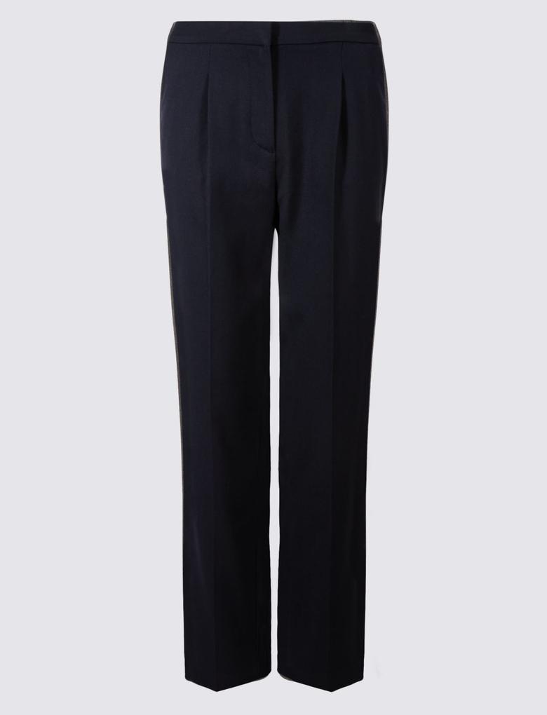 Lacivert Elastik Straight Pantolon