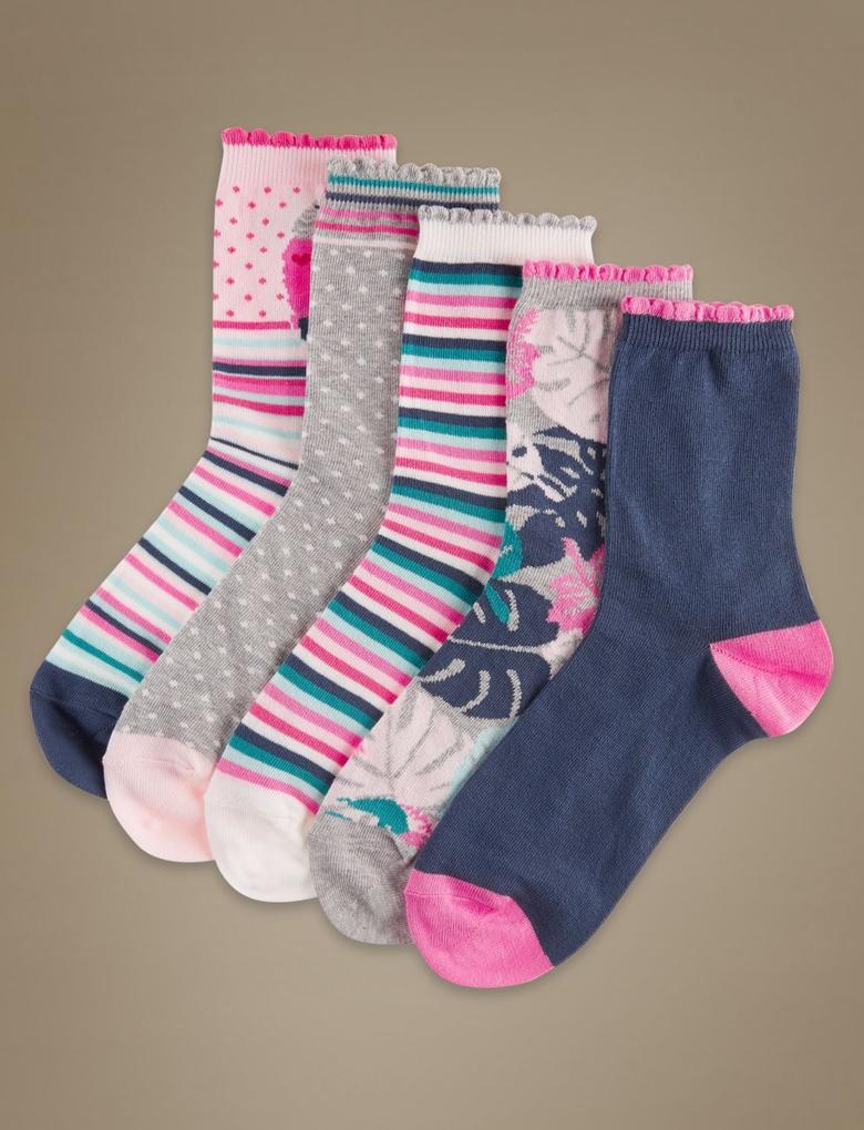 5'li Pamuklu Çorap Seti