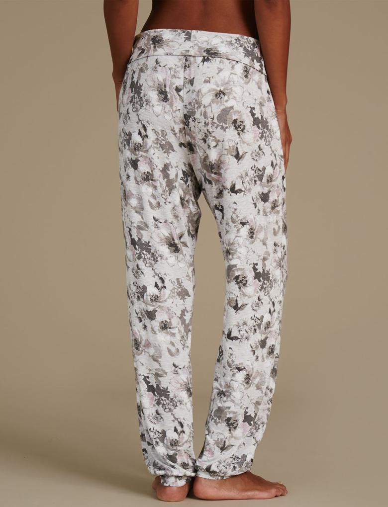 Çiçek Desenli Lastik Paçalı Pijama Altı