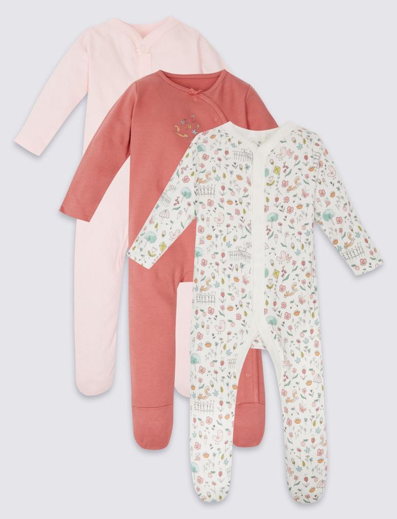 Pembe 3'lü Saf Pamuklu Tulum Pijama