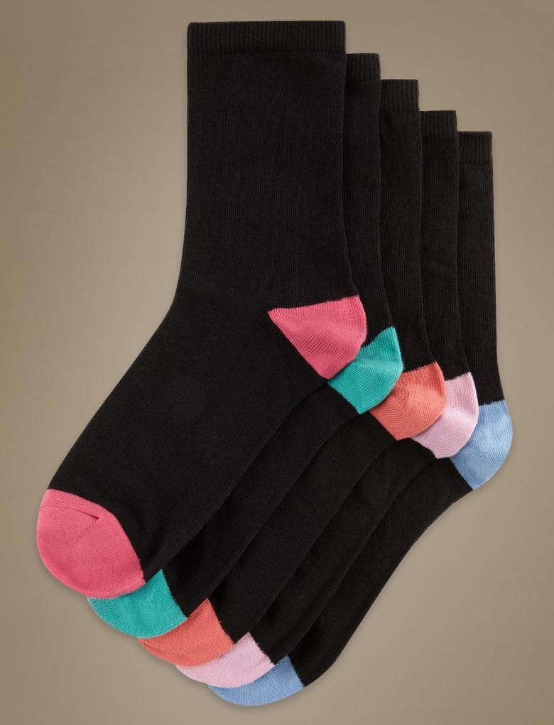 5'li Kontrast Renkli Çorap