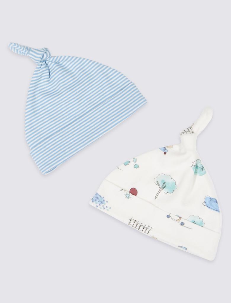 Mavi 2'li Saf Pamuklu Şapka