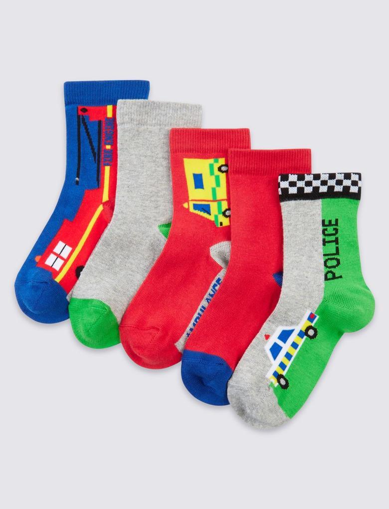 5'li Pamuklu Freshfeet™ Çorap (1 - 6 Yaş)