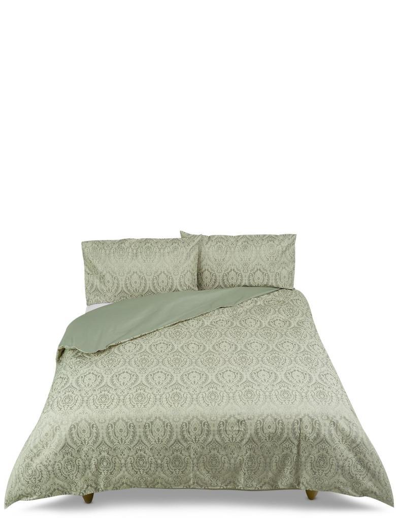 Yeşil Desenli Jakarlı Yatak Takımı