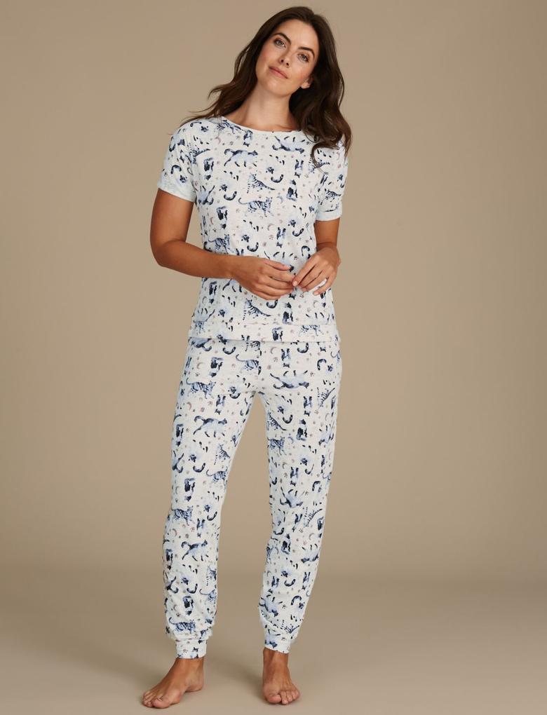 Pamuklu Desenli Kısa Kollu Pijama
