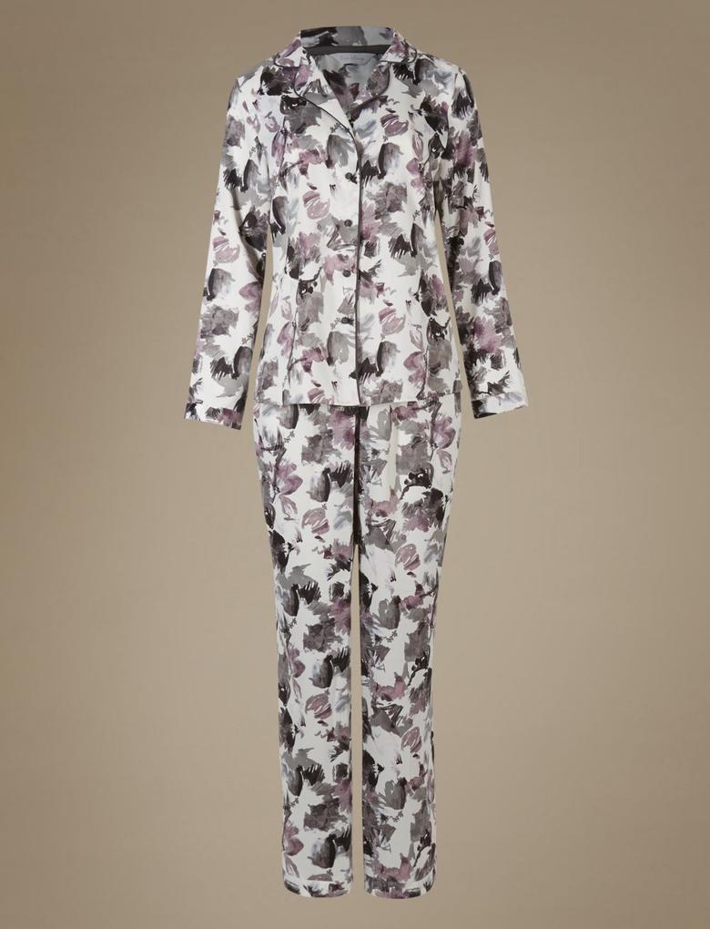 Siyah Desenli Saten Pijama Takımı