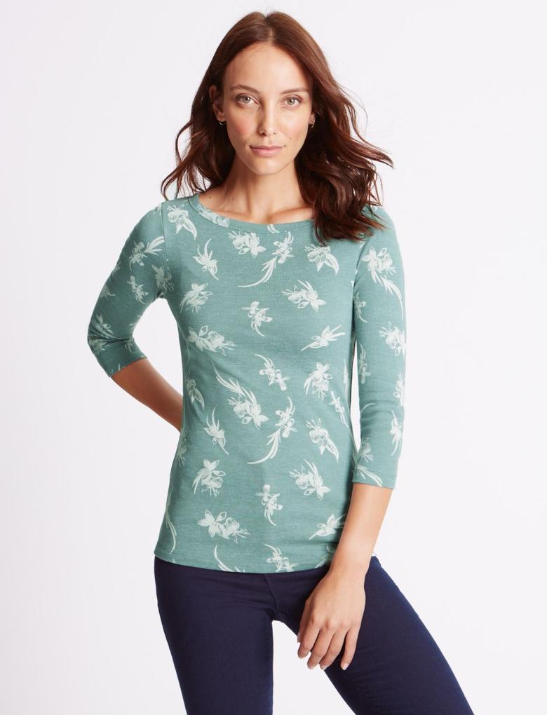Mavi Saf Pamuklu Çiçek Desenli 3/4 Kollu T-Shirt
