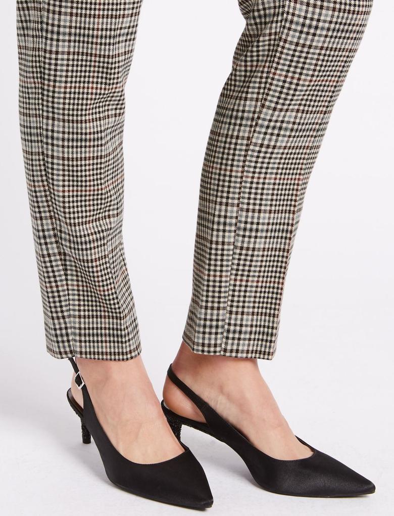 Kahverengi Ekose Slim Pantolon