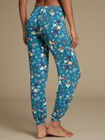 Yeşil Çiçek Desenli Lastik Paçalı Pijama Altı