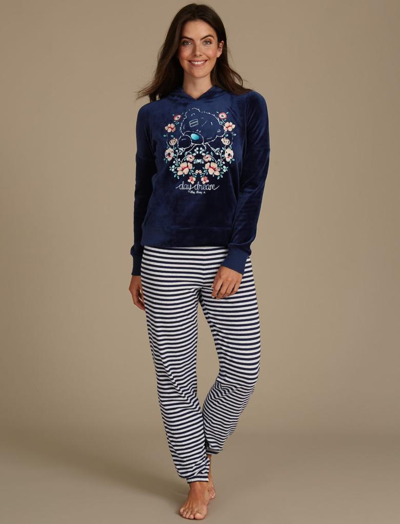 Lacivert Desenli Uzun Kollu Pijama Takımı