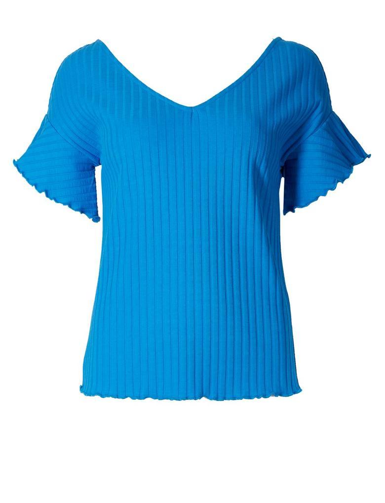 Pamuklu Fırfır Kollu T-Shirt