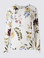 Gri Desenli Yuvarlak Yaka Uzun Kollu T-Shirt