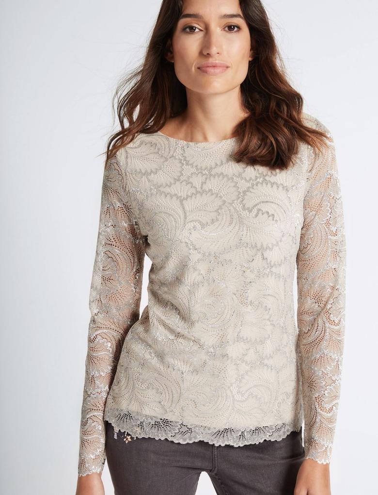 Dantelli Uzun Kollu T-Shirt