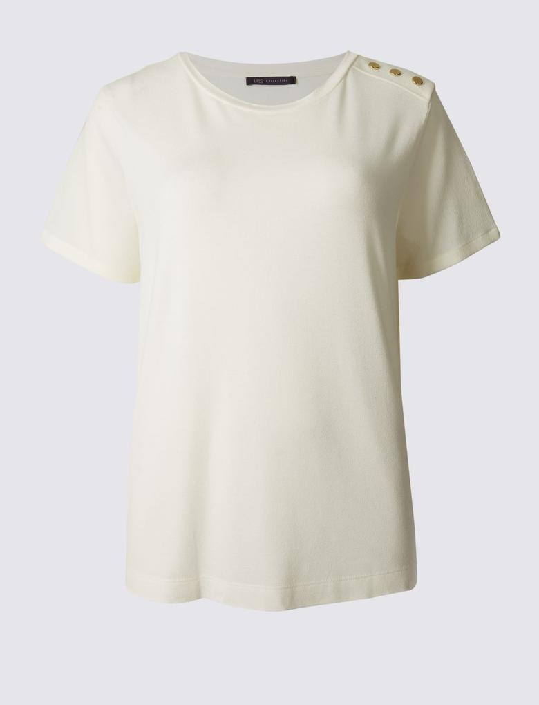 Kısa Kollu Düğme Detaylı T-Shirt