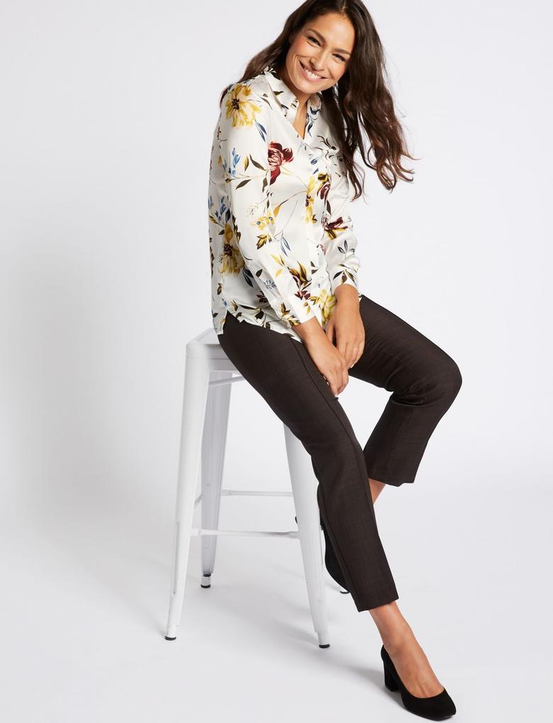 Bej Desenli Uzun Kollu Saten Gömlek