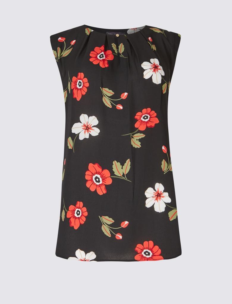 Çiçek Desenli Yuvarlak Yaka Bluz