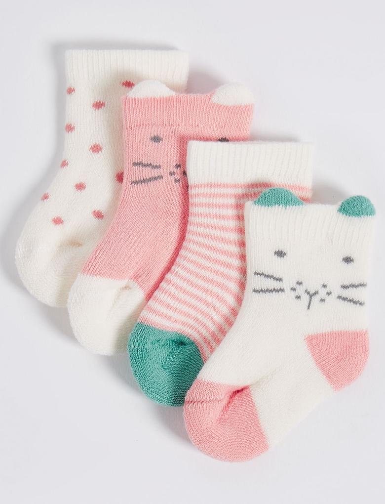 4'lü Pamuklu StaySoft™ Çorap (0 - 12 Ay)