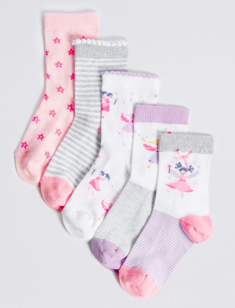 Beyaz 5'li Pamuklu Freshfeet™ Çorap (1 - 6 Yaş)