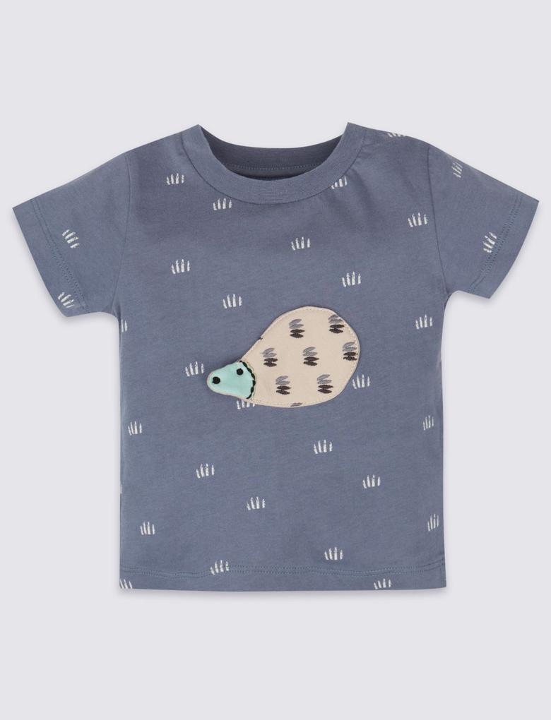 Saf Pamuklu Kirpi Desenli T-Shirt