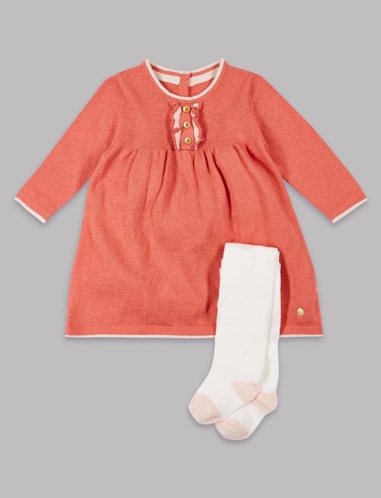 Pembe 2 Parça Pamuklu Elbise ve Külotlu Çorap Takımı