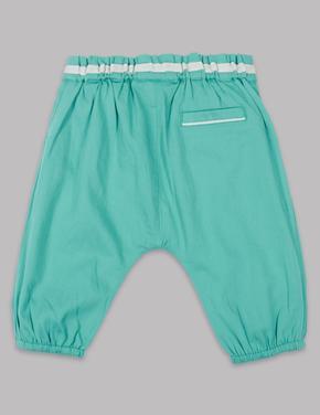 Saf Pamuklu Fırfırlı Pantolon