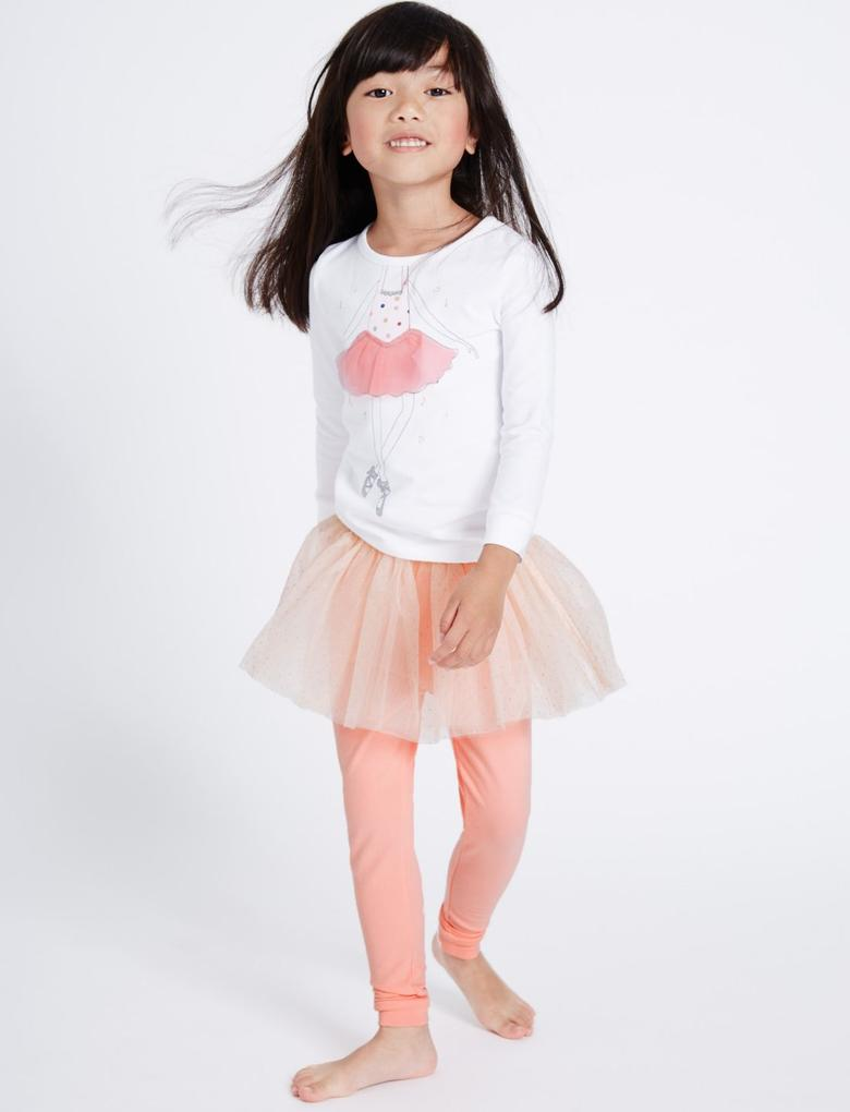 Pamuklu Streç Balerin Pijama Takımı (9 Ay - 8 Yaş)