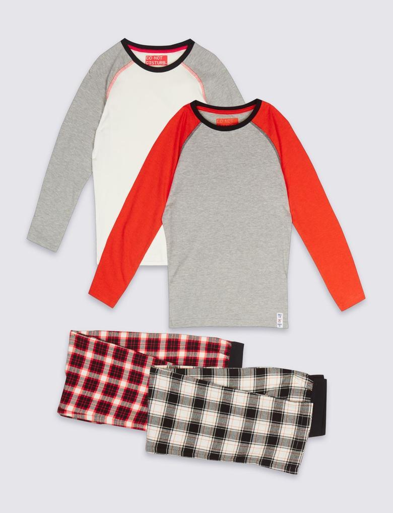 2'li Uzun Kollu Kareli Pijama Takımı (3 - 16 Yaş)