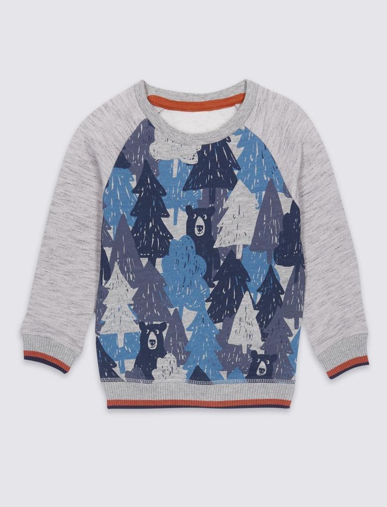 Pamuklu Desenli Sweatshirt (3 Ay - 5 Yaş)