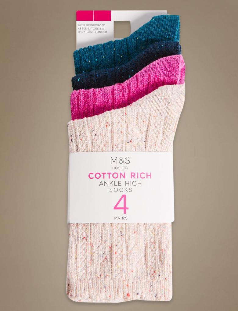 Pembe 4'lü Pamuklu Çorap