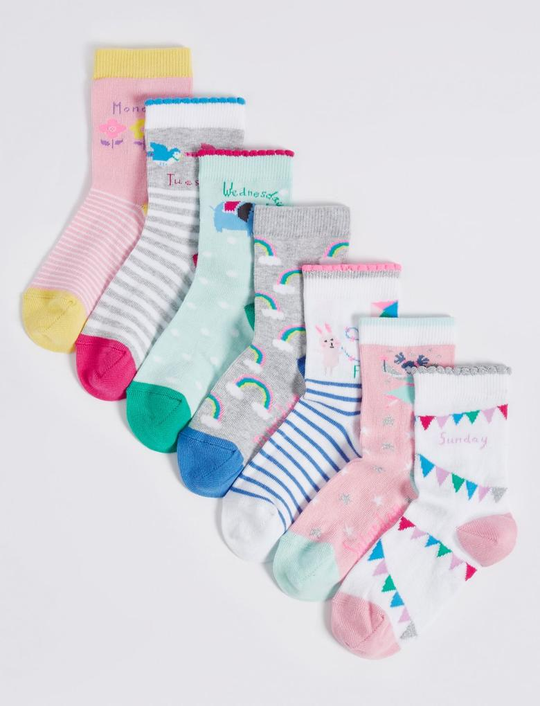 7'li Pamuklu Freshfeet™ Çorap (1 - 6 Yaş)