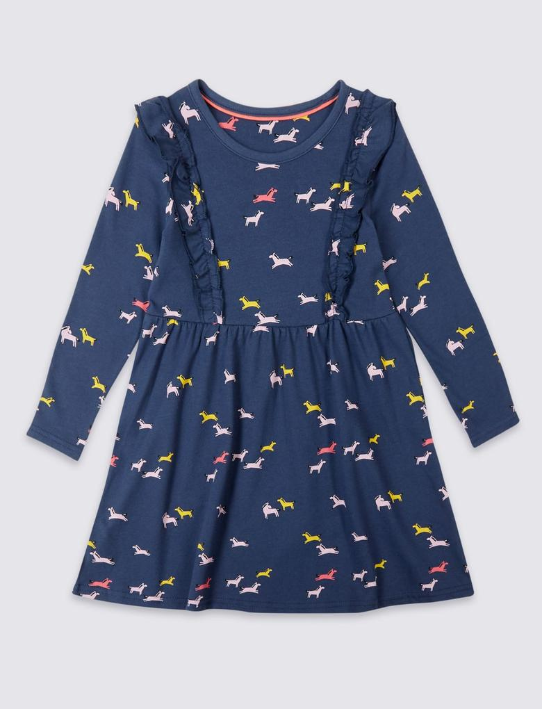 Saf Pamuklu Desenli Elbise (3 Ay - 5 Yaş)