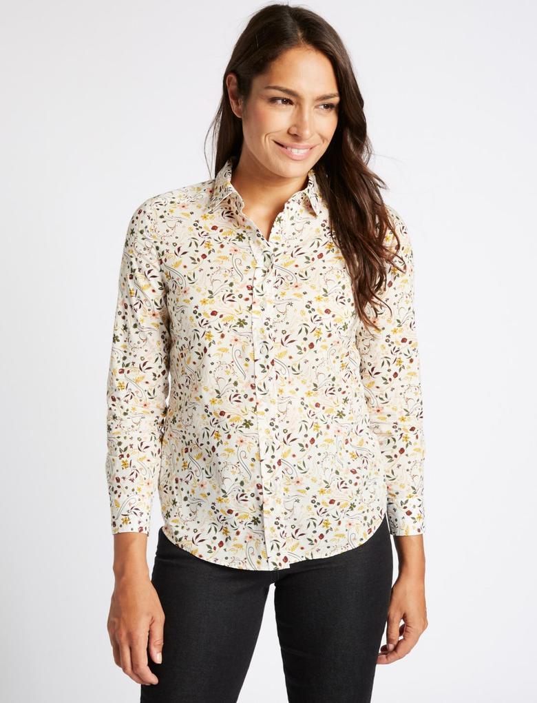 Bej Saf Pamuklu Desenli Uzun Kollu Gömlek