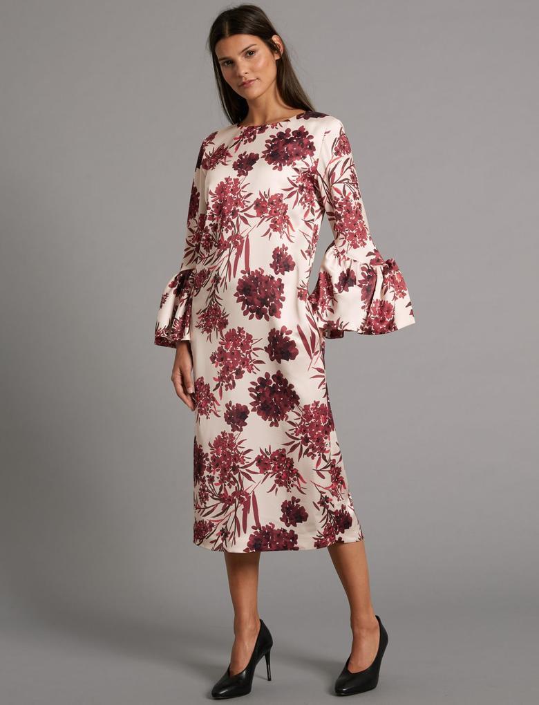 Çiçek Desenli Saten Midi Elbise