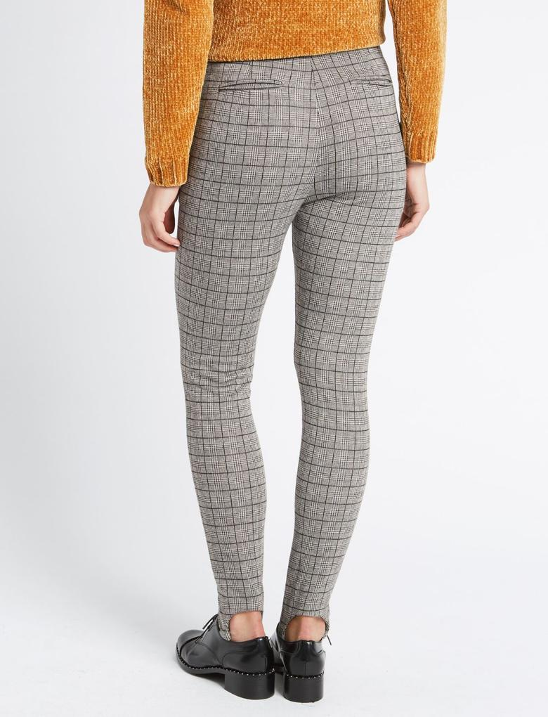 Ekose Skinny Pantolon