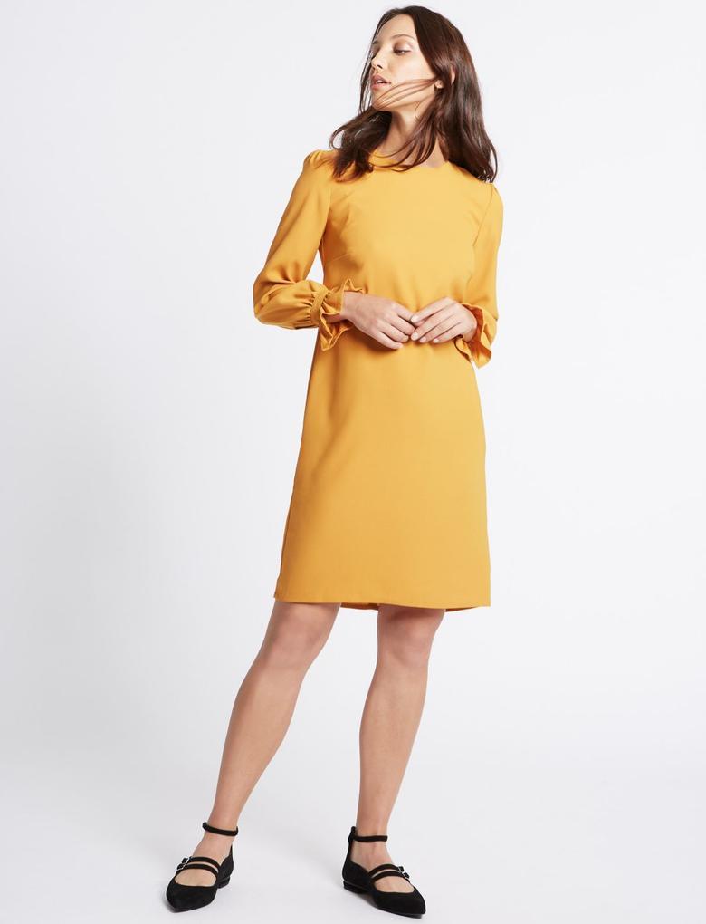 Fırfır Detaylı Tunik Elbise
