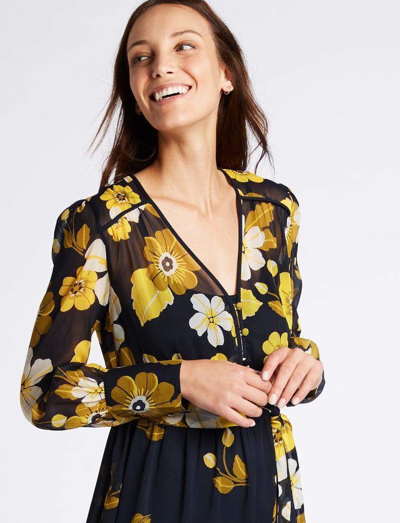 Çiçek Desenli Uzun Kollu Midi Elbise