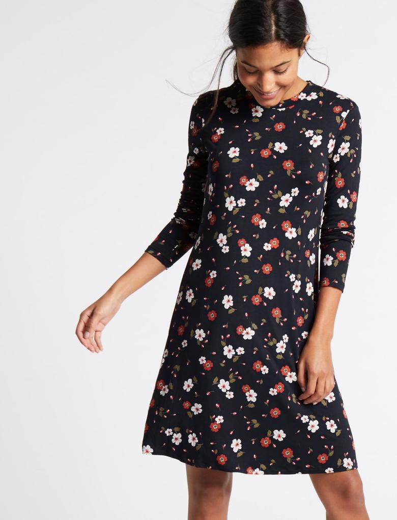 Çiçek Desenli Uzun Kollu Elbise