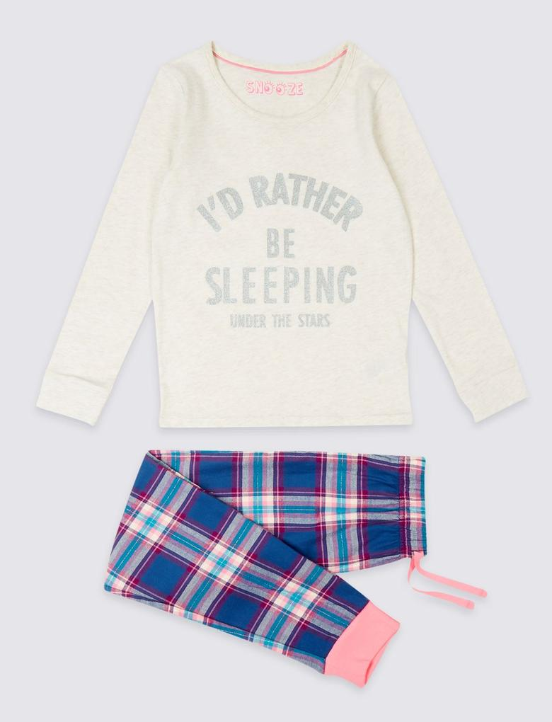 Saf Pamuklu Uzun Kollu Pijama Takımı (3 - 16 Yaş)