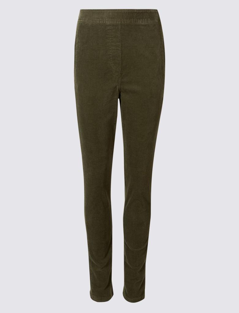 Pamuklu Straight Kadife Pantolon