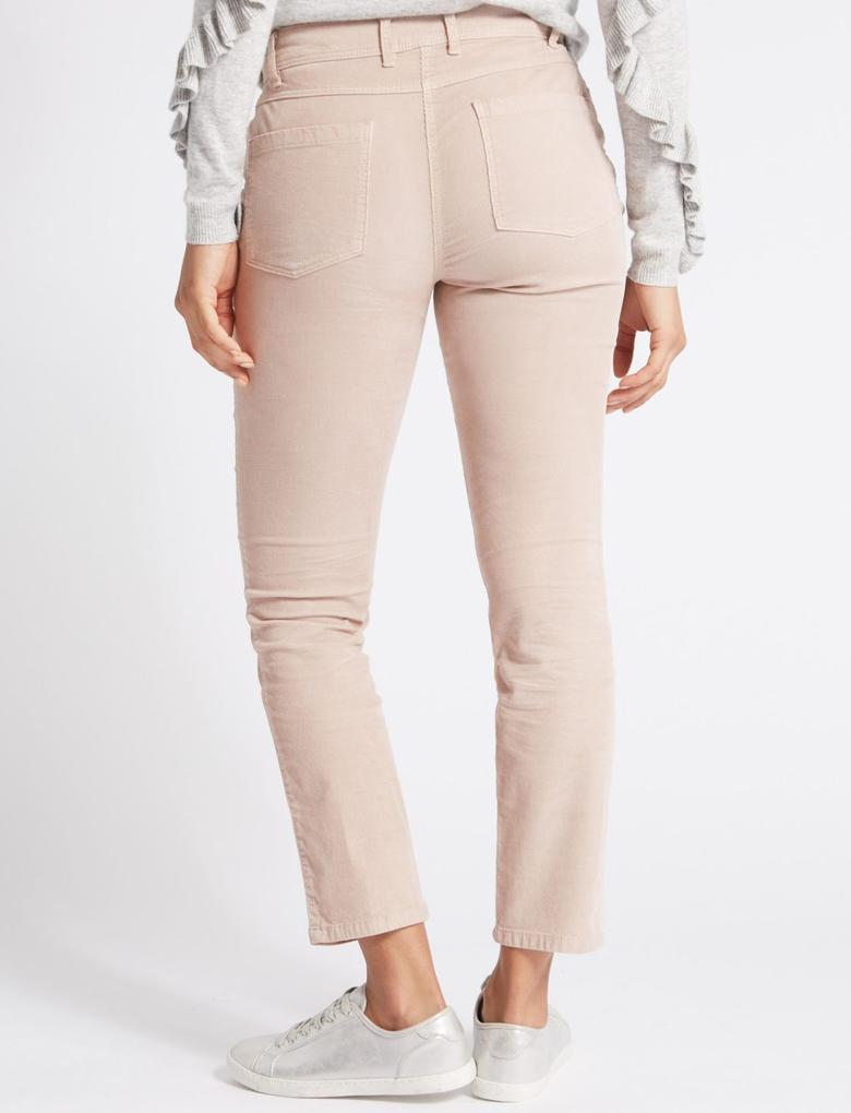 Pembe Pamuklu Slim Kadife Pantolon