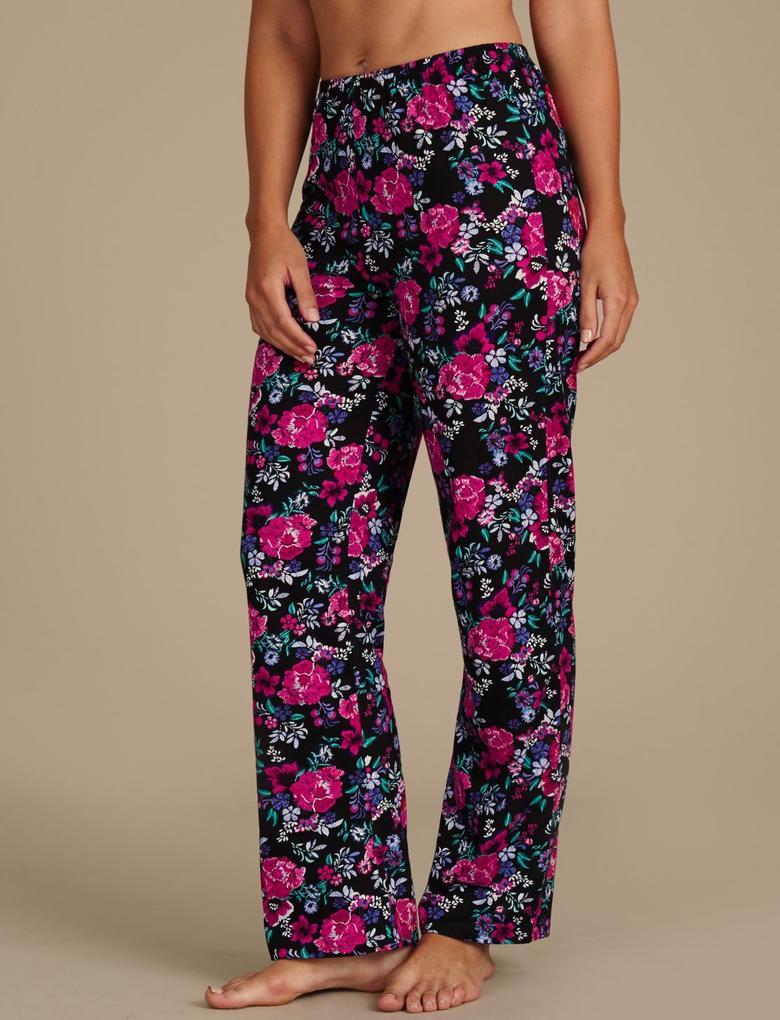 Saf Pamuklu Çiçek Desenli Kısa Kollu Pijama Takımı