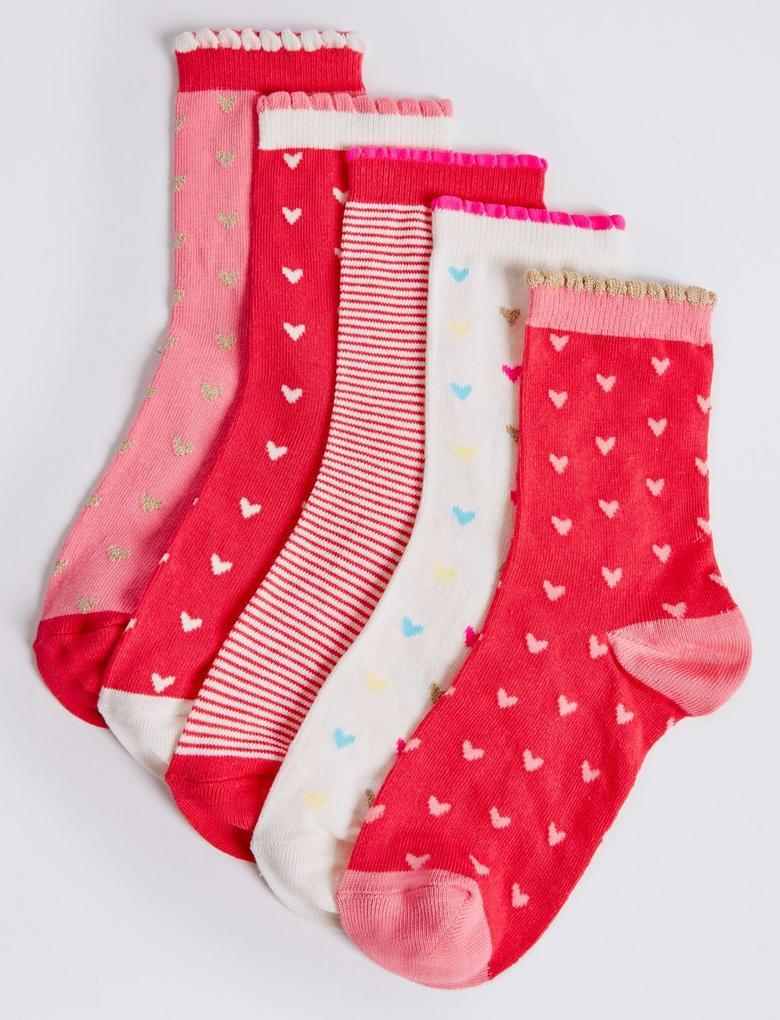 Kırmızı 5'li Pamuklu Freshfeet™ Çorap (12 Ay - 10 Yaş)