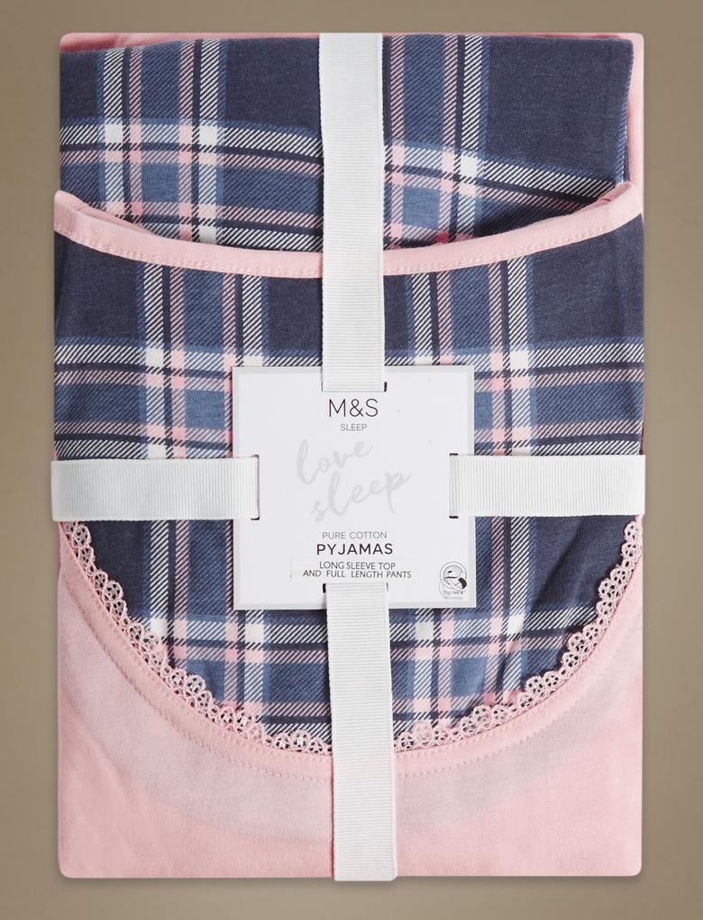 Saf Pamuklu Çiçek Desenli Uzun Kollu Pijama Takımı
