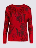 Kırmızı Çiçek Desenli Yuvarlak Yaka Kazak