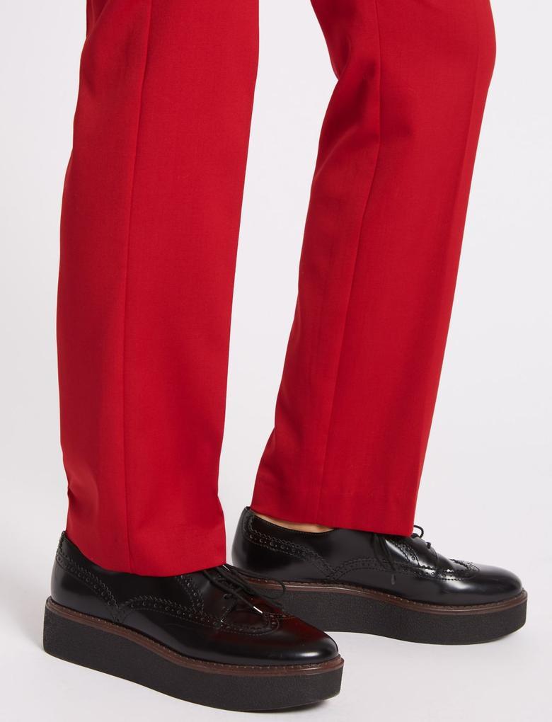 Yünlü Straight Pantolon