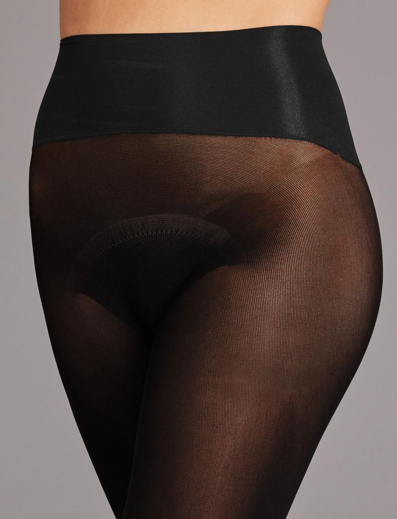 Siyah 60 Denye Dikişsiz Opak Külotlu Çorap