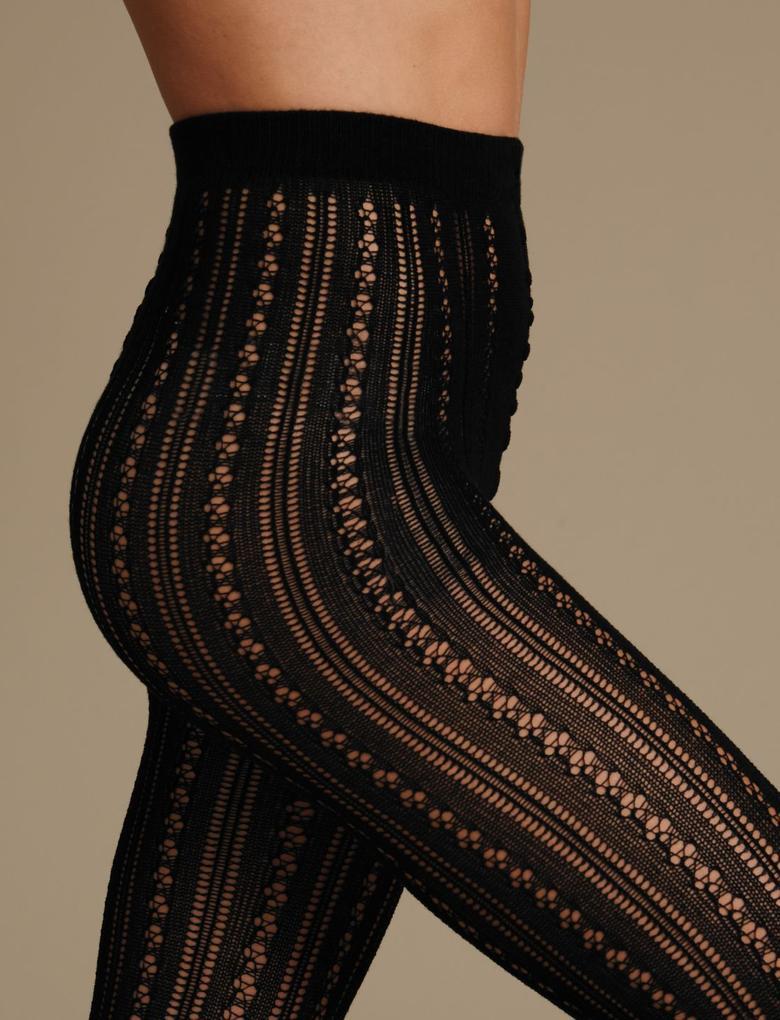 Siyah Çizgili Külotlu Çorap
